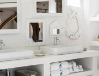 Detail of the bath room at Art Suite Studio at Hotel Su Gologone in Oliena